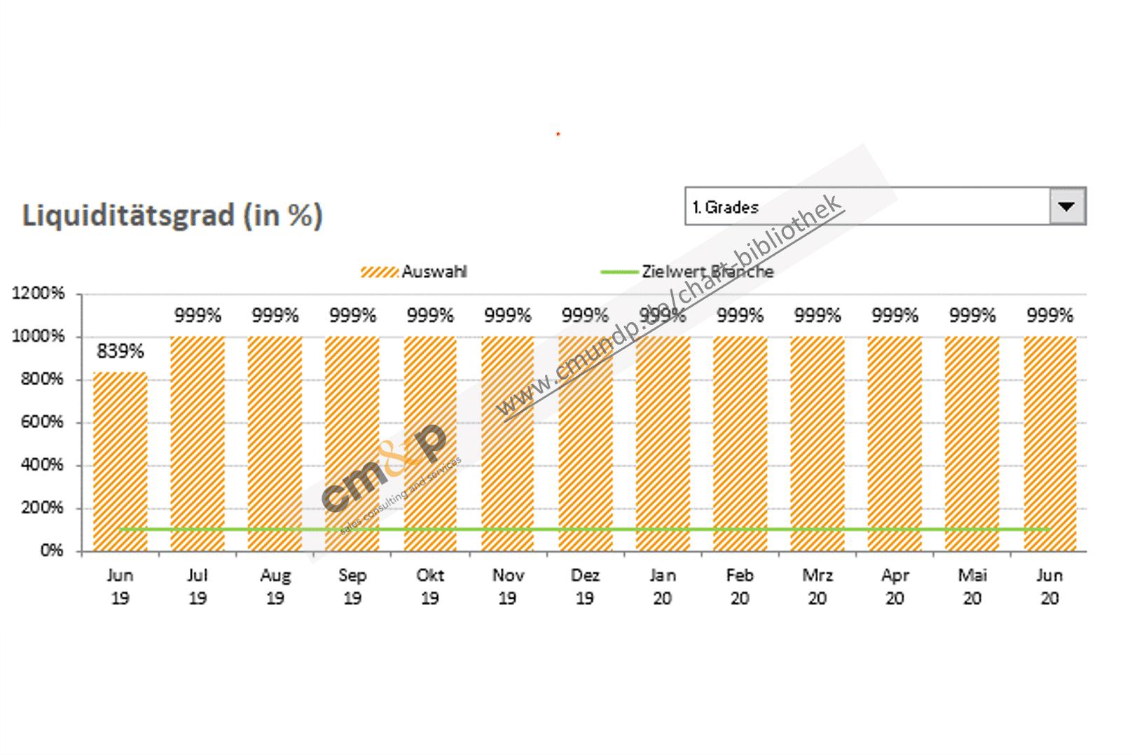 Darstellung der Liquidität 1.-3. Grades als Säulen über einen 13-Monatszeitraum in % mit Wertangabe möglich Der Zielwert der Branche wird als Linie in % dargestellt