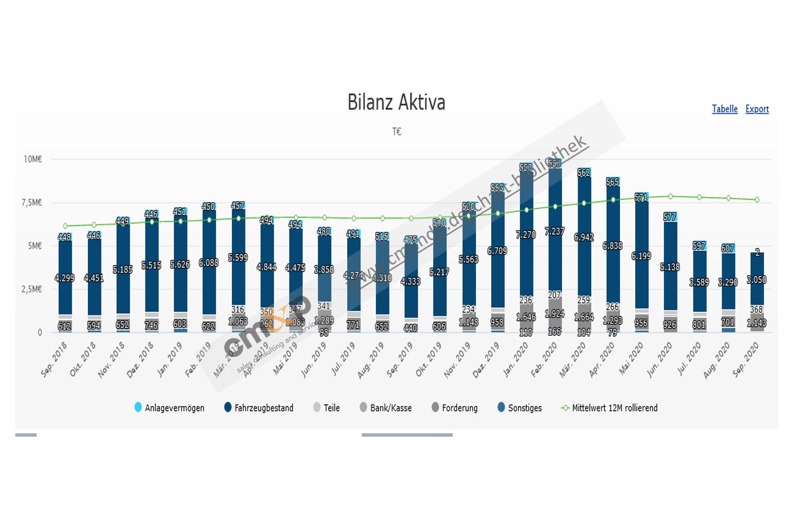 Darstellung der Bilanzwerte Aktiva als gestapelte Säulen mit jeweiliger monatlicher Wertangabe in TEUR im 24-Monatsvergleich Abbildung des Mittelwerts über 12 Monate rollierend als Linie