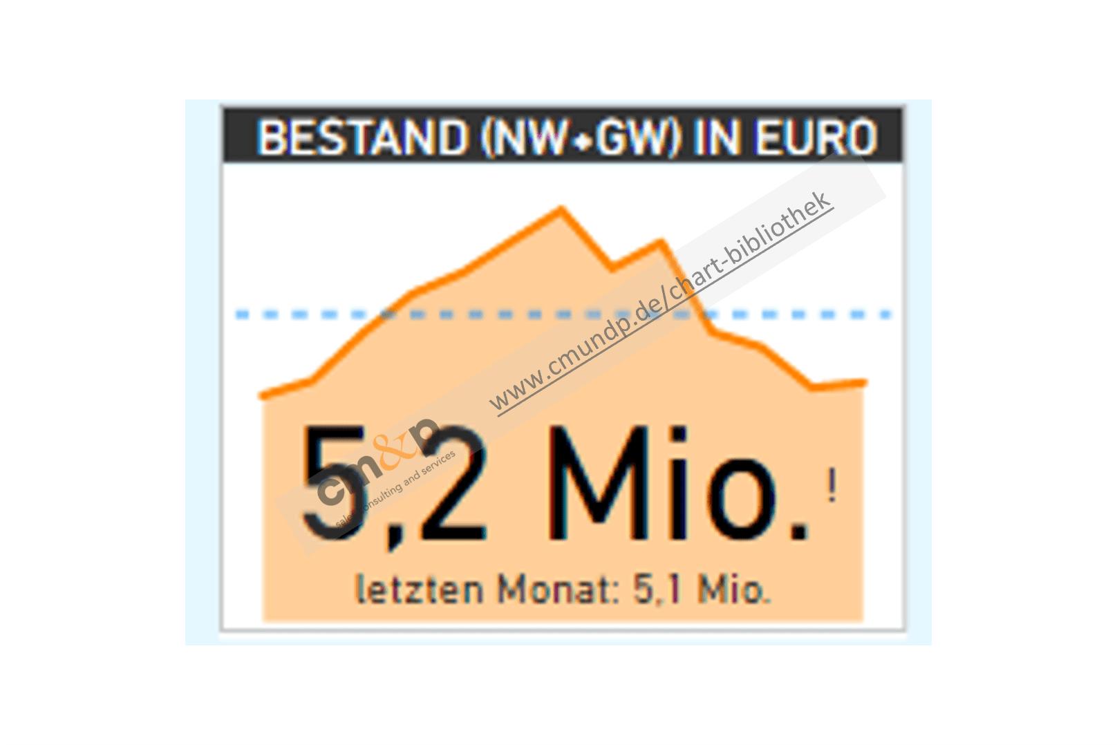 Darstellung des Fahrzeugbestandes von Neu- und Gebrauchtwagen des aktuellen Monats und im Vergleich zum Vormonat, sowie im Hintergrund der Bestandsverlauf der letzten 13 Monate in EURO