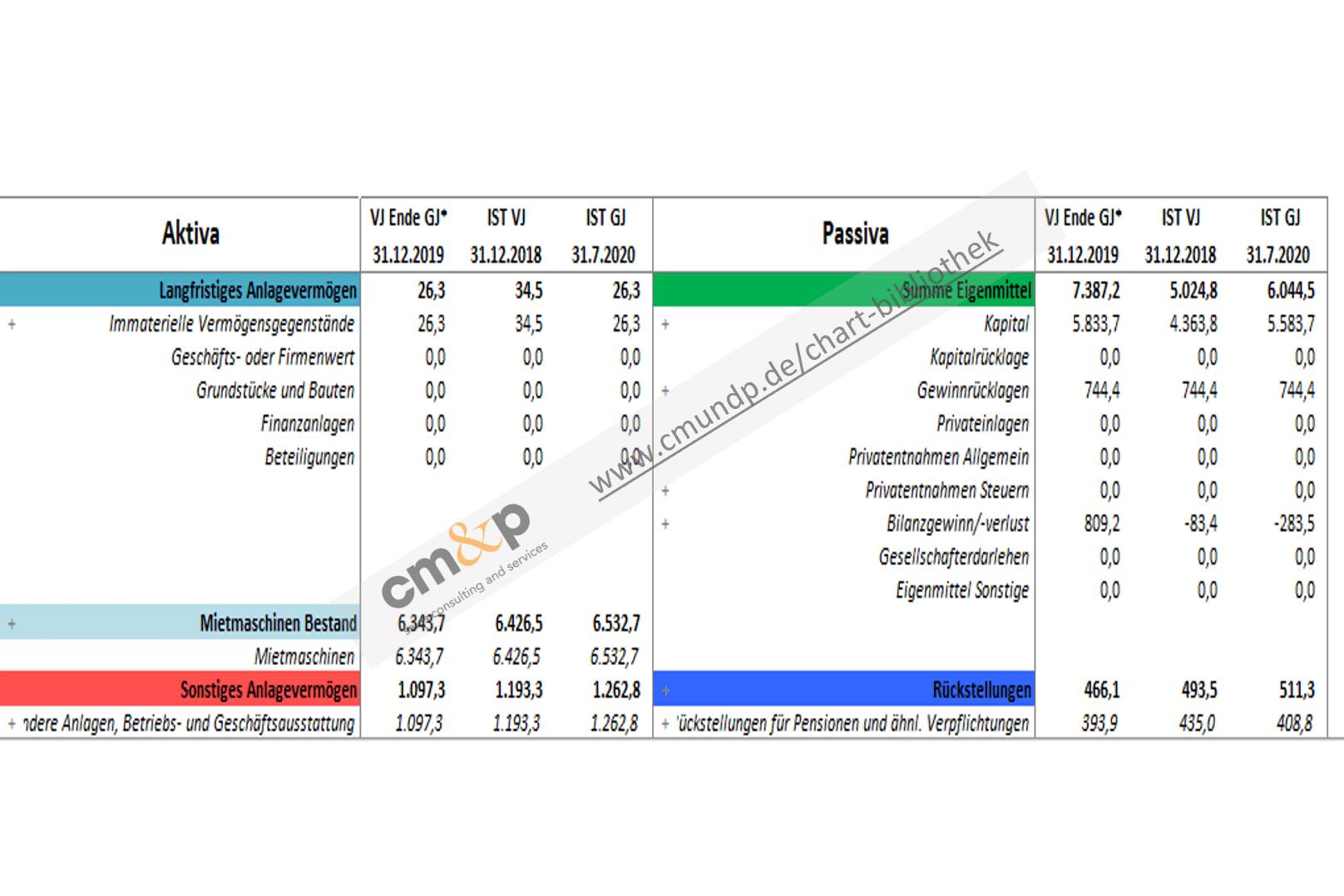 Darstellung der Bilanzwerte von Aktiva und Passiva in TEUR als Vorjahres- und Istwerte, sowie zum Geschäftsjahresende des Vorjahres